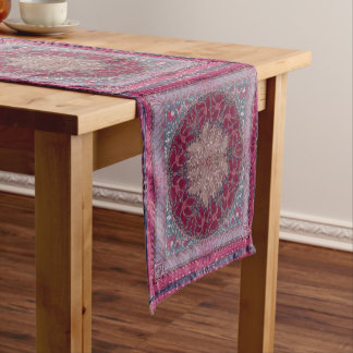 Elegant chic boho stylish floral pattern short table runner