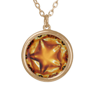 Elegant Chic Copper Gold Christmas Star Gold Plated Necklace