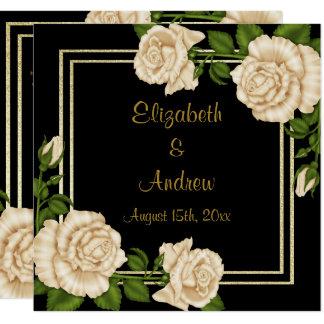 Elegant Chic Corner Ivory Roses Bouquets Wedding Card