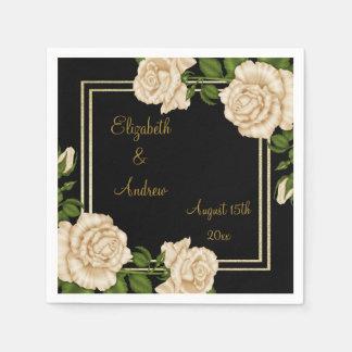 Elegant Chic Corner Ivory Roses Bouquets Wedding Disposable Serviette