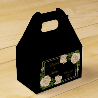 Elegant Chic Corner Ivory Roses Bouquets Wedding Favour Box