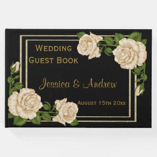 Elegant Chic Corner Ivory Roses Bouquets Wedding Guest Book