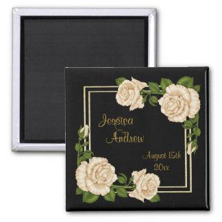 Elegant Chic Corner Ivory Roses Bouquets Wedding Magnet