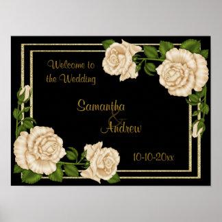 Elegant Chic Corner Ivory Roses Bouquets Wedding Poster