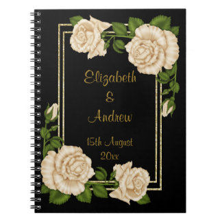 Elegant Chic Corner Ivory Roses Bouquets Wedding Spiral Notebook