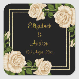 Elegant Chic Corner Ivory Roses Bouquets Wedding Square Sticker