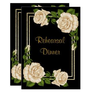 Elegant Chic Corner Ivory Roses  Rehearsal Dinner Card