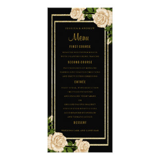 Elegant Chic Corner Ivory Roses Wedding Menu Rack Card Template