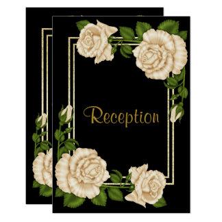 Elegant Chic Corner Ivory Roses Wedding Reception Card