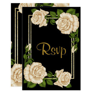 Elegant Chic Corner Ivory Roses Wedding RSVP Card