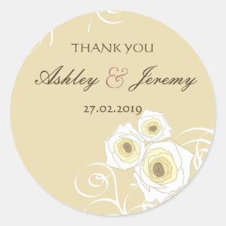 Elegant Chic Cream Roses & Swirls Wedding Sticker