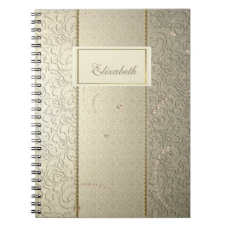 Elegant Chic Damask Lace Pearls-Personalized Notebooks