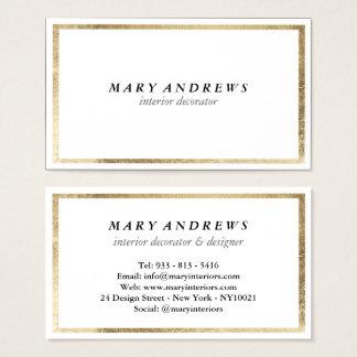Elegant chic faux foil gold plain white luxury business card