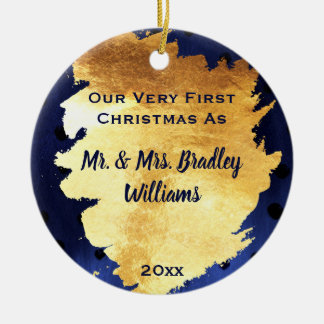 Elegant Chic Faux Gold and Blue First Christmas Ceramic Ornament