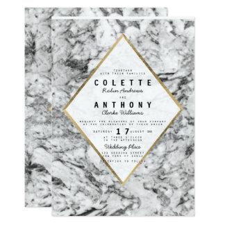 Elegant chic faux gold black white marble wedding card