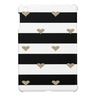 Elegant Chic  Faux Gold Glittery Hearts On Stripes Cover For The iPad Mini