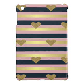 Elegant Chic  Faux Gold Glittery Hearts On Stripes iPad Mini Covers