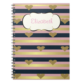 Elegant Chic  Faux Gold Glittery Hearts On Stripes Notebooks