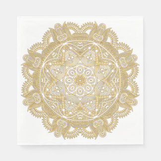 Elegant Chic Faux Gold Mandala Flower Pattern Paper Napkins