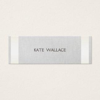 Elegant Chic Faux Satin Gold Striped & Gray Linen Mini Business Card