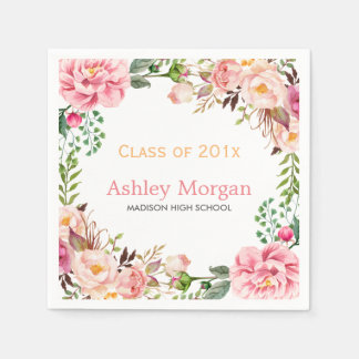 Elegant Chic Floral Decor Class of 2018 Graduation Paper Napkin