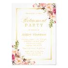 Elegant Chic Floral Gold Frame | Retirement Party Card
