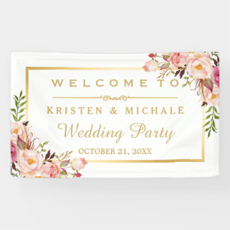 Elegant Chic Floral Gold Frame Wedding Party Banner
