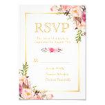Elegant Chic Flowers Gold Frame RSVP 9 Cm X 13 Cm Invitation Card