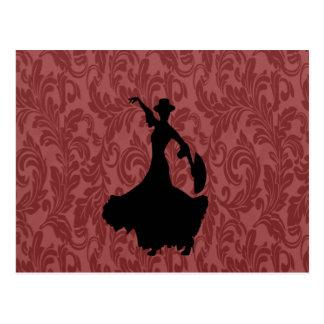 Elegant chic  girly damask flamenco dancer postcard