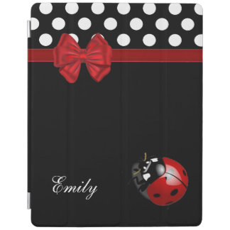 Elegant chic girly polka dots ladybug monogram iPad cover