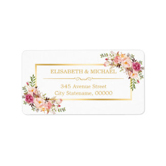 Elegant Chic Gold and White Beautiful Floral Decor Address Label