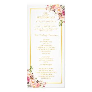 Elegant Chic Gold Frame Floral Wedding Program Personalized Rack Card