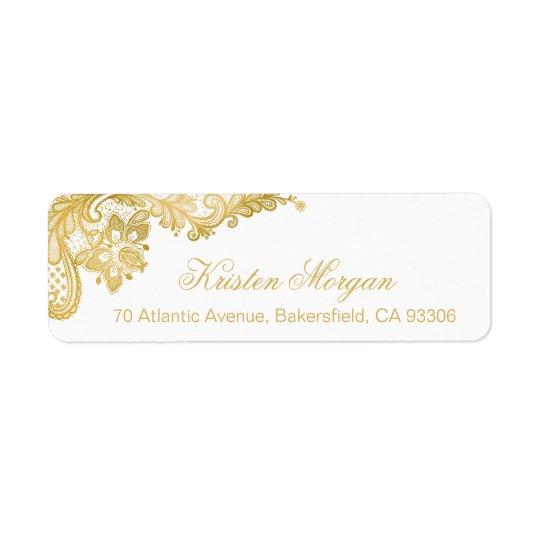 Elegant Chic Gold Lace Pattern Return Address Label