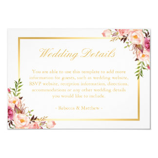 Elegant Chic Gold Pink Floral Wedding Details Card