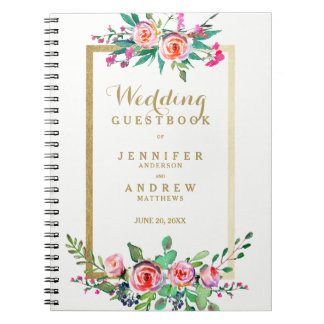 Elegant Chic Gold Pink Floral Wedding Guestbook Notebooks