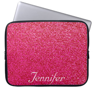 Elegant chic  hot PINK print glitter PERSONALIZED Laptop Sleeve