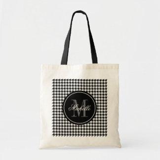 Elegant chic houndstooth pattern monogram tote bag