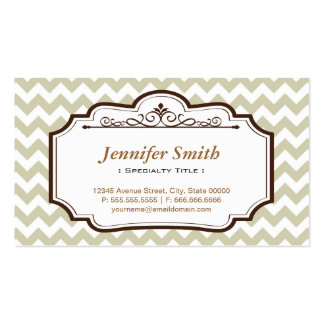Elegant Chic Jasmine Chevron Zigzag - two sided Business Card Templates