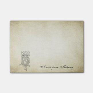 Elegant chic lady owl vintage post-it® notes