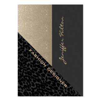 Elegant chic luxury contemporary leopard glittery business cards