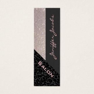 Elegant chic luxury contemporary leopard glittery mini business card