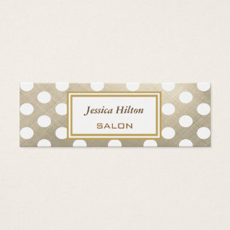 Elegant chic luxury contemporary metal polka dots mini business card