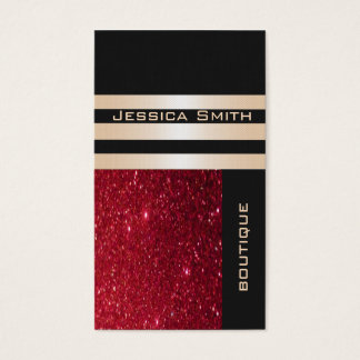 Elegant  chic luxury contemporary red glittery business card