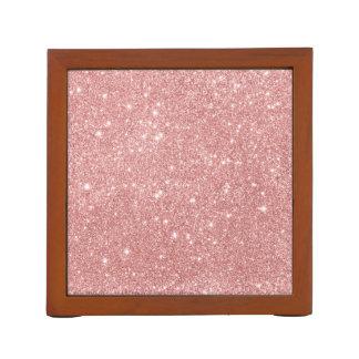 Elegant Chic Luxury Faux Glitter Rose Gold Desk Organiser