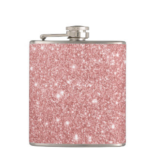 Elegant Chic Luxury Faux Glitter Rose Gold Flask