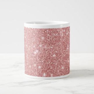 Elegant Chic Luxury Faux Glitter Rose Gold Large Coffee Mug