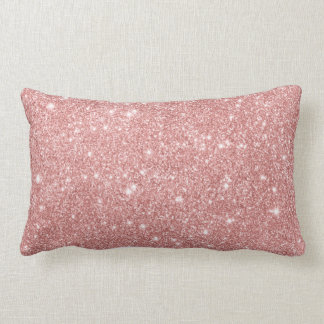 Elegant Chic Luxury Faux Glitter Rose Gold Lumbar Cushion