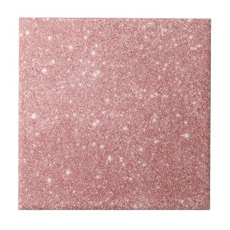 Elegant Chic Luxury Faux Glitter Rose Gold Small Square Tile