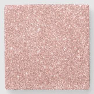Elegant Chic Luxury Faux Glitter Rose Gold Stone Coaster