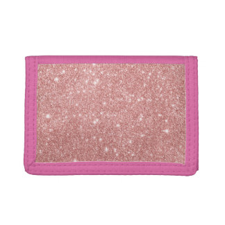 Elegant Chic Luxury Faux Glitter Rose Gold Trifold Wallets